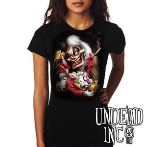 Villains Cruella De Vil Tattooing White Rabbit - Ladies T Shirt