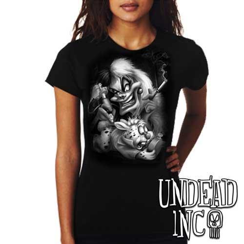 Villains Cruella De Vil Tattooing White Rabbit - Ladies T Shirt BLACK GREY