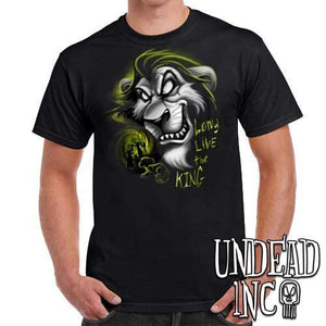 "Villains Scar ""Long live the king"" Lion King - Mens T Shirt BLACK GREY"
