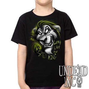 "Villains Scar ""Long live the king"" Lion King Black Grey - Kids Unisex Girls and Boys T shirt Clothing"