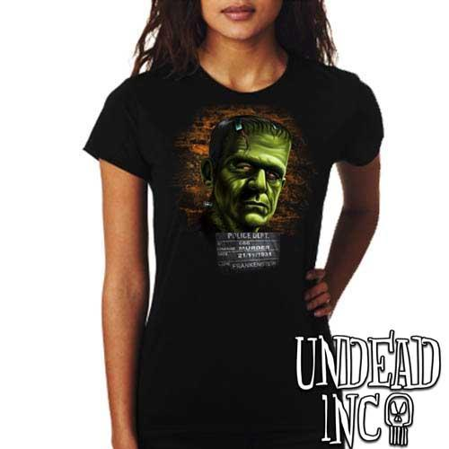 Frankenstein Mugshot - Ladies T Shirt - Undead Inc Ladies T-shirts,