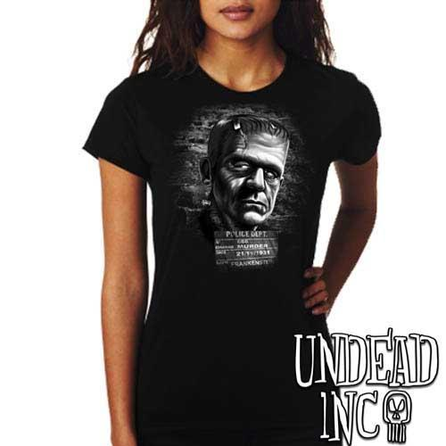 Frankenstein Mugshot - Ladies T Shirt BLACK GREY - Undead Inc Ladies T-shirts,