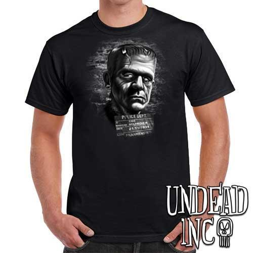 Frankenstein Mugshot - Mens T Shirt BLACK GREY - Undead Inc Mens T-shirts,