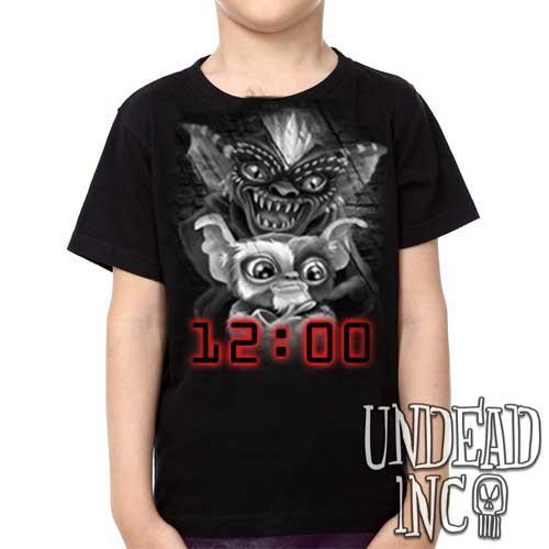 Gremlins Gizmo and Spike Black Grey - Kids Unisex Girls and Boys T shirt Clothing - Undead Inc Kids T-shirts,