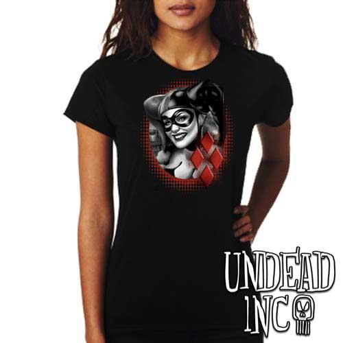 Harley Quinn - Ladies T Shirt - BLACK GREY - Undead Inc Ladies T-shirts,