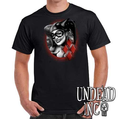 Harley Quinn - Mens T Shirt BLACK GREY - Undead Inc Mens T-shirts,
