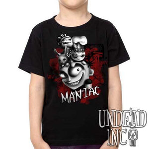 "JTHM ""Maniac"" Nailbunny and Dough boys Johnny the Homicidal Maniac black grey - Kids Unisex Girls and Boys T shirt Clothing"