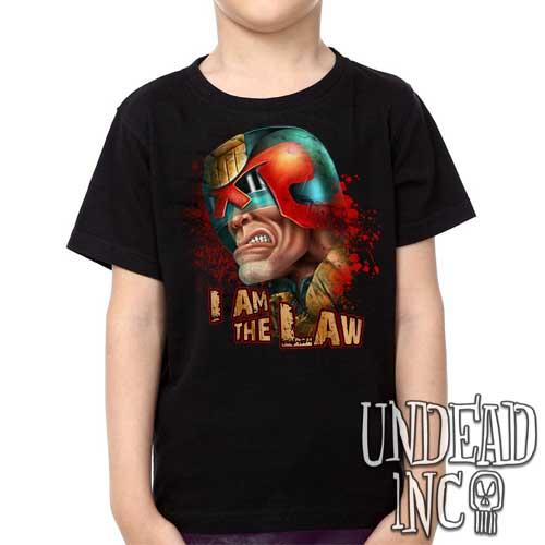 Judge Dredd 2000 ad I AM THE LAW - Kids Unisex Girls and Boys T shirt Clothing