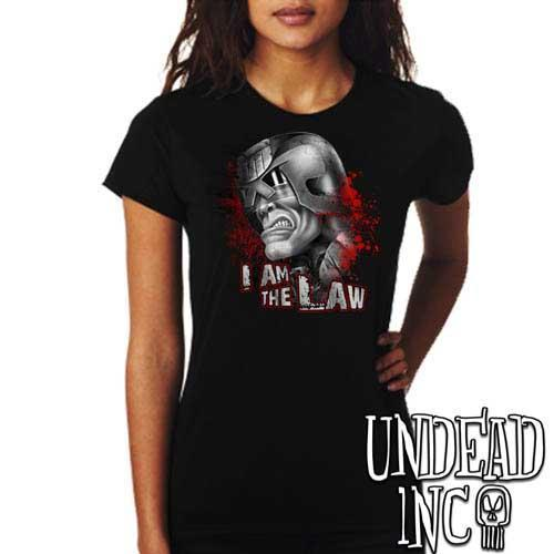 Judge Dredd I AM THE LAW - Ladies T Shirt - BLACK GREY