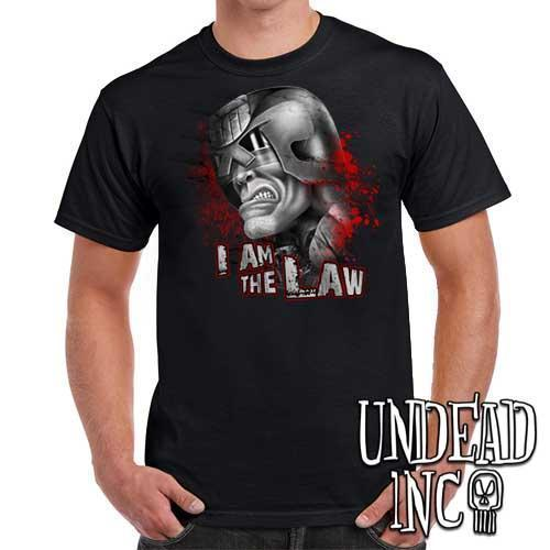Judge Dredd I AM THE LAW - Mens T Shirt - BLACK GREY