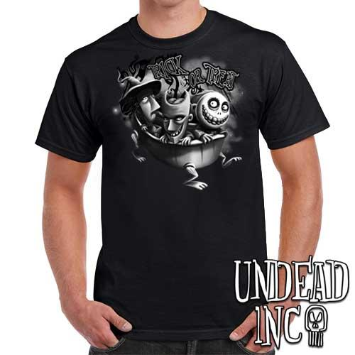 Nightmare Before Christmas Lock Shock Barrel Trick or Treat - Mens T Shirt BLACK GREY