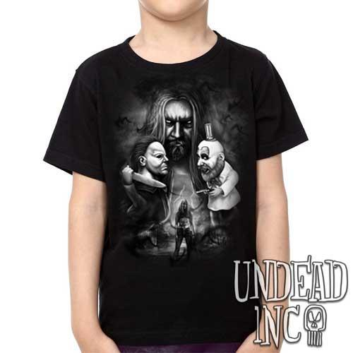Rob Zombie 31 Captain Spaulding Michael Myers Black Grey - Kids Unisex Girls and Boys T shirt Clothing