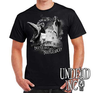 Tim Burton Beetlejuice Haunted House Barbara and Adam  - Mens T Shirt - Black Grey