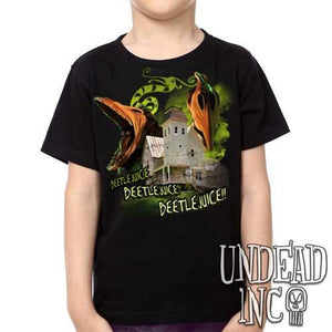 Tim Burton Beetlejuice Haunted House Barbara and Adam - Kids Unisex Girls and Boys T shirt Clothing