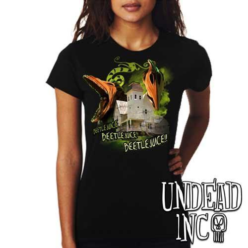 Tim Burton Beetlejuice Haunted House Barbara and Adam - Ladies T Shirt
