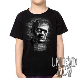 Universal Monsters Frankenstein Mugshot Black Grey - Kids Unisex Girls and Boys T shirt Clothing