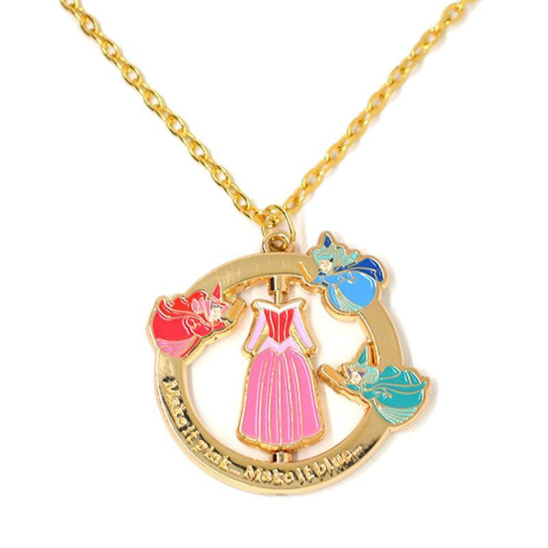 Sleeping Beauty Spinning Dress Necklace