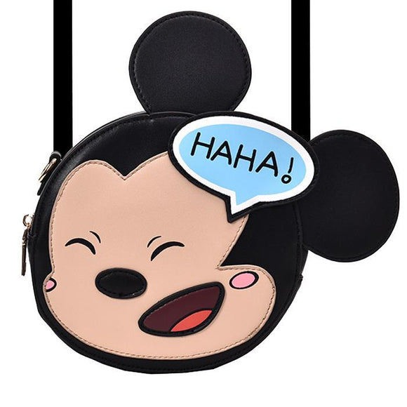 Mickey Mouse Cartoon Laughs Pu Leather Shoulder Bag