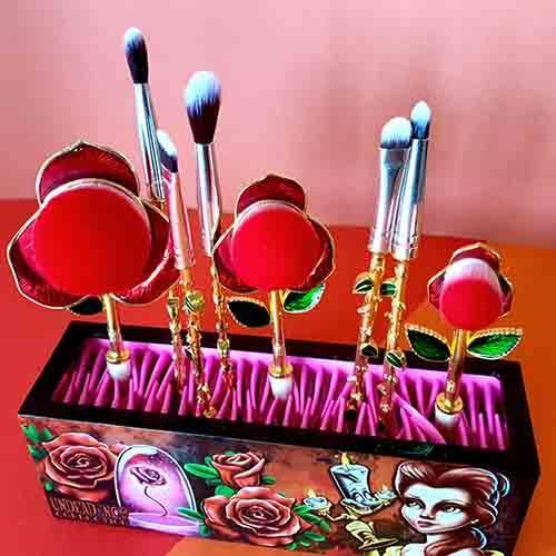 Undead Inc Collection Beauty & The Beast Enchanted Rose - Metal Makeup Brush & Holder Set Makeup Brushes Undead Inc