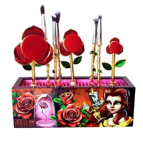 Undead Inc Collection Beauty & The Beast Enchanted Rose - Metal Makeup Brush & Holder Set