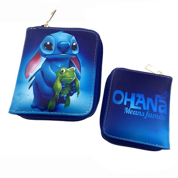 Disney Stitch Ohana Means Family Short Style PU Leather Wallet - Undead Inc Wallet,