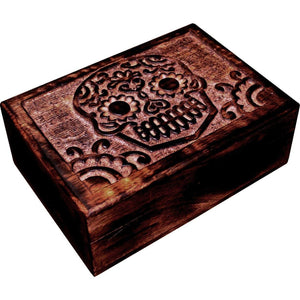 Sugar Skull Day Of The Dead Carved Wooden Storage Box