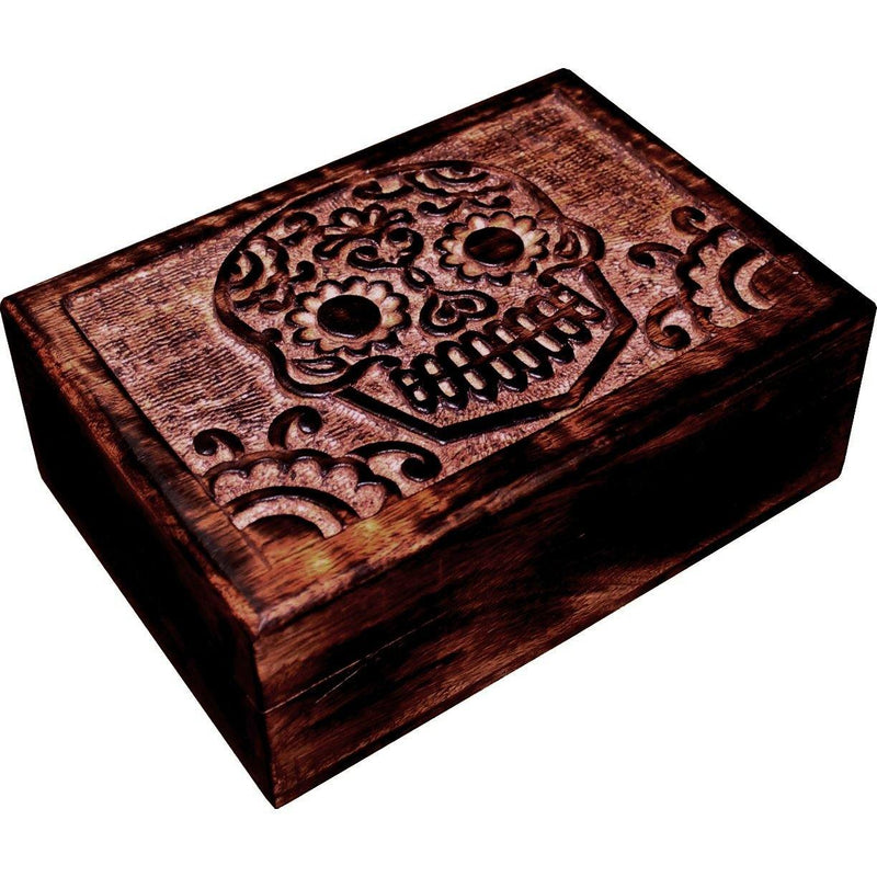Sugar Skull Day Of The Dead Carved Wooden Storage Box Homewares Day Of The Dead