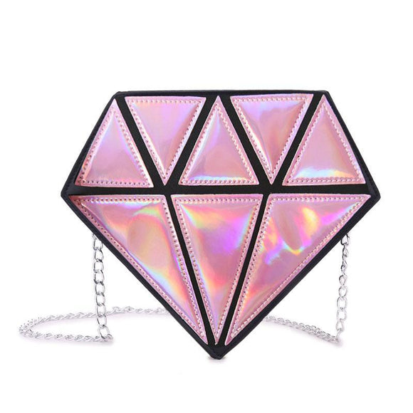 Pink Hologram Diamond Bag / Clutch With Chain