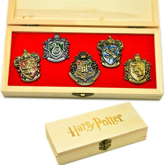 Harry Potter 5 Piece Collectable Crest Pin Set In Wooden Box
