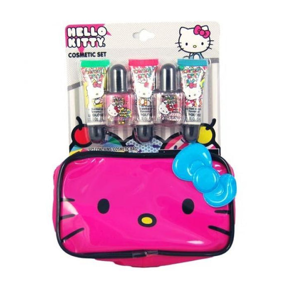 Hello Kitty Lip Gloss Nail Polish & Cosmetics Bag Set