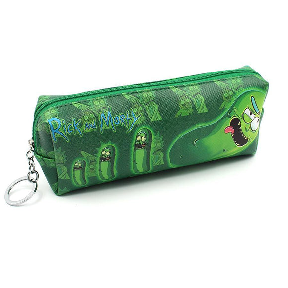 Rick & Morty Pickle Rick GREEN Pu Leather Makeup Cosmetics Bag