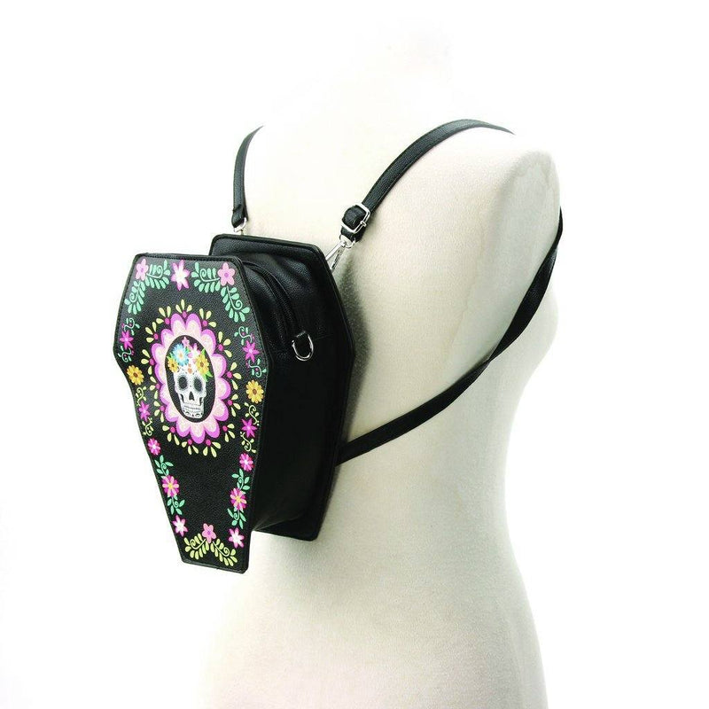 Sugar Skull Day Of The Dead Convertible Cross Body / Back Pack Shoulder Handbags Day Of The Dead