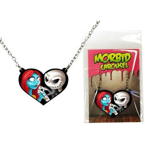 Nightmare Before Christmas Jack and Sally Halloween Heart STAINLESS STEEL Necklace