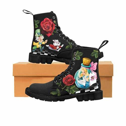 Alice In Wonderland Down The Rabbit Hole - No Toe Print - LADIES Martin Boots - Undead Inc Womens Boots,