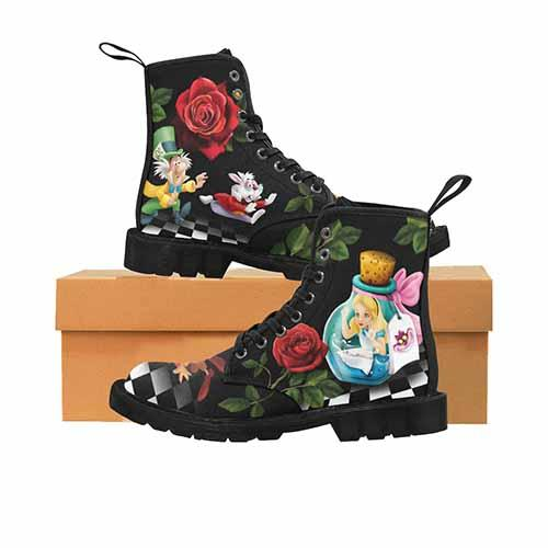 Alice In Wonderland Down The Rabbit Hole LADIES Martin Boots - Undead Inc Womens Boots,