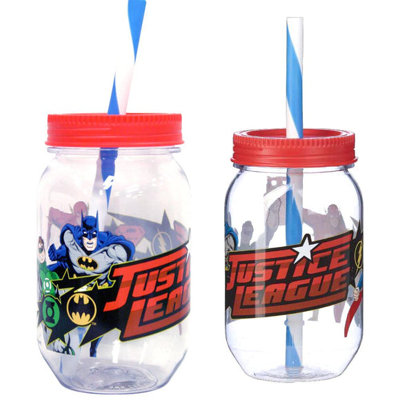 Justice League Mason Jar With Straw