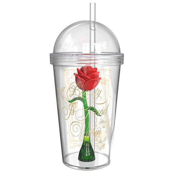 Beauty & The Beast Enchanted Rose Tumbler With Straw