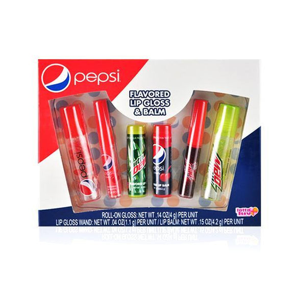 Pepsi & Mountain Dew Flavoured Lip Gloss & Balm Set Of 6