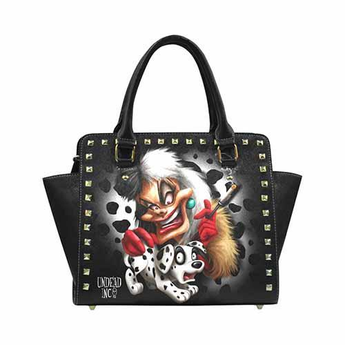Undead Inc - Cruella De Vil Villains Premium PU Leather Stud Detail Shoulder / Hand Bag