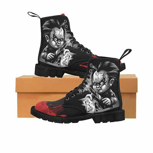 Chucky Black & Grey Variant LADIES Martin Boots - Undead Inc Womens Boots,