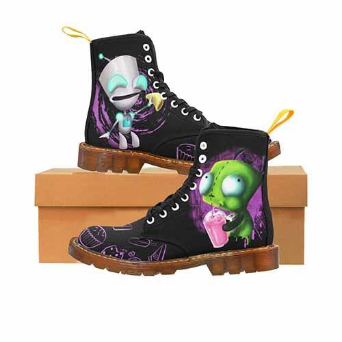 Invader Zim GIR Black LADIES Martin Boots - Cupcakes Variant - Undead Inc Womens Boots,