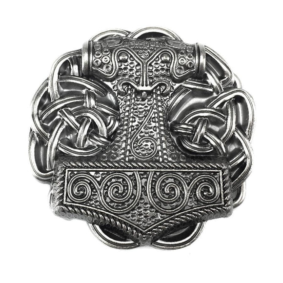 Viking Thor Hammer Knot Belt Buckle
