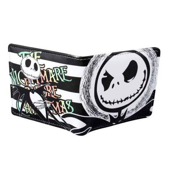 Nightmare Before Christmas Jack Skellington Black & White Stripe PU Leather Bifold Wallet