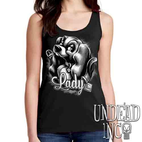 LADY Black & Grey - Ladies Singlet Tank Ladies Tank Tops Undead Inc