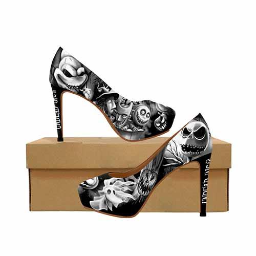Nightmare Before Christmas Pumpkin King Platform Black Grey High Heels