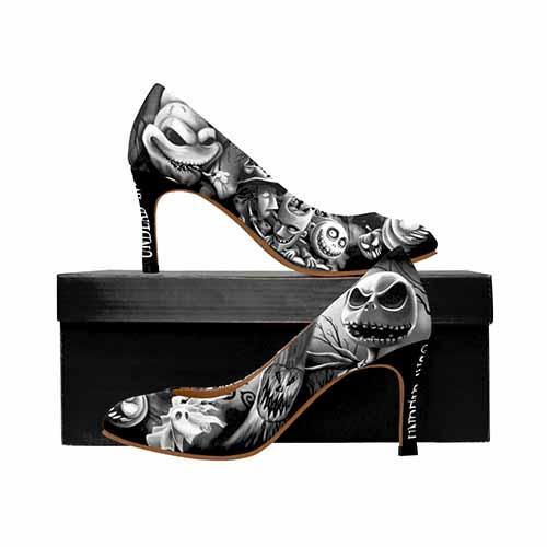 Nightmare Before Christmas Pumpkin King MEDIUM Black Grey High Heels