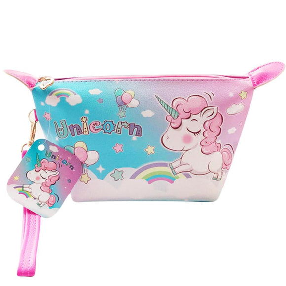 Unicorn Clouds PU Leather Makeup Cosmetics Bag