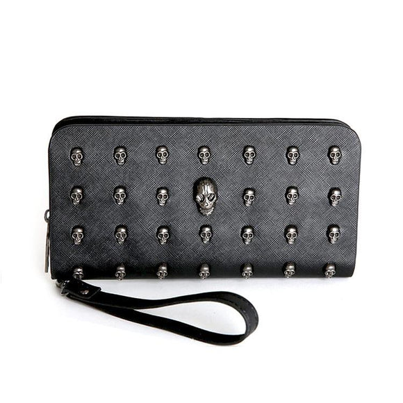 Gothic Skull Studded Long Line Wallet Purse - Undead Inc Wallet,
