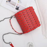 Red Studded Punk Handbag with Removable Shoulder Chain