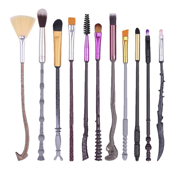 Harry Potter 11 Piece Magical Wand Coloured Metal Makeup Brush Set